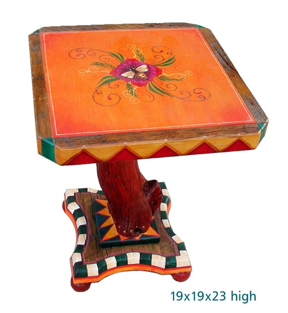 Hand made wood end table funky home decor for Funky home decor