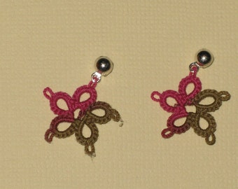 Tatted Flower Earrings - Vineyard Harvest