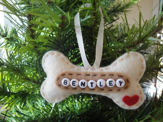 Personalized Felt Ornament Dog Bone