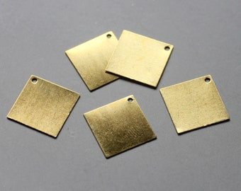 200pcs Raw Brass Square Charms With One Hole,Stamping Tags Findings 13mm - F124