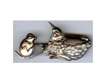 Adorable Vintage Sterling Silver CHICK in Egg and MAMA HEN Pin