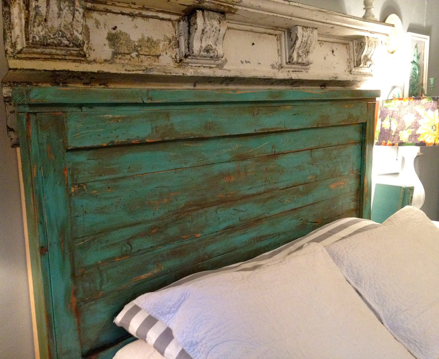 Distressed Queen Size Headboard Turquoise by ToolShedOriginals