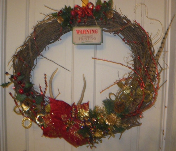Items similar to country traditions holiday deer antler for Antler christmas wreath