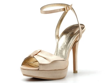 Champagne Strappy Evening Heels, High Heel Evening Shoes, Strappy Wedding Heels, Satin Wedding Heels