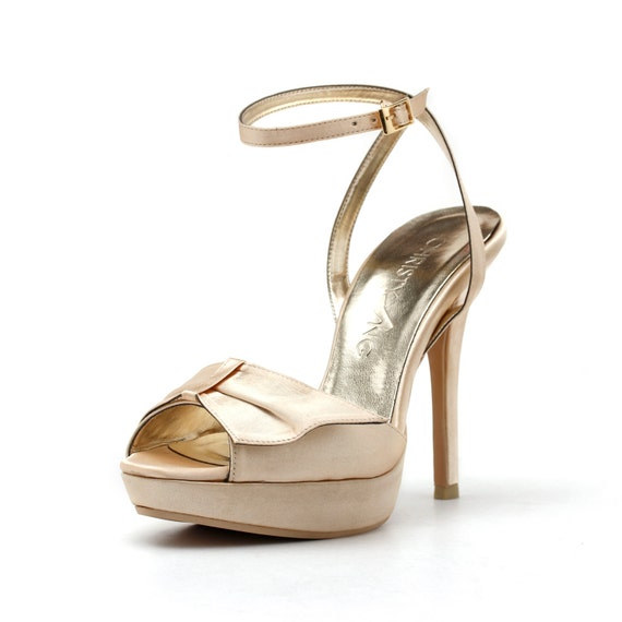 Champagne Strappy Evening Heels High Heel by ChristyNgShoes