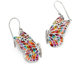 Butterfly Dangle Earrings – 925 Sterling Silver Handmade Jewelry with Multicolored Millefiori Polymer Clay