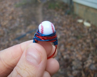 Wire wrapped baseball ring. You choose the colors