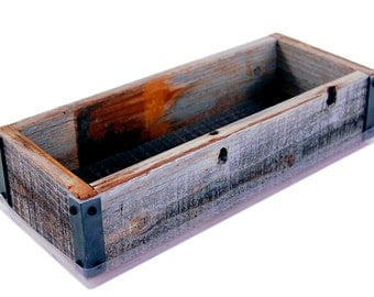 Reclaimed Barnwood Planter Box - Made From Rustic Weathered Barn Wood - Flowers, Herbs, House Plants