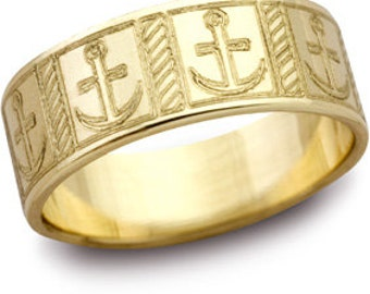 Mariner Cross Engraved Wedding Band 8mm Wide size 13