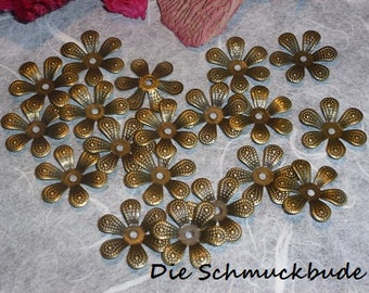 D-03253 - 30 Bead caps antique bronze 16mm
