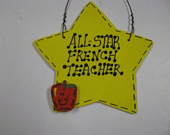 Teacher Gifts Yellow Star w/Apple All Star French Teacher