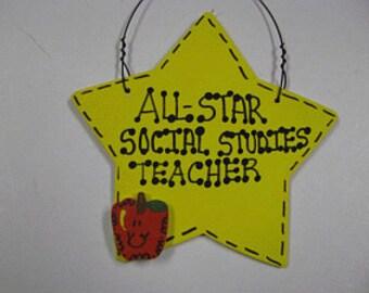 Teacher Gifts Yellow Star w/Apple All Star Social Studies Teacher