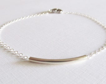 Sterling Silver Bar Bracelet, Sterling Silver Bracelet, Gift for her