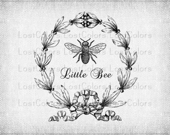 Vintage Little Bee Iron on Transfer Fabric Transfer