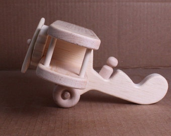 Handcrafted Wooden Biplane 117