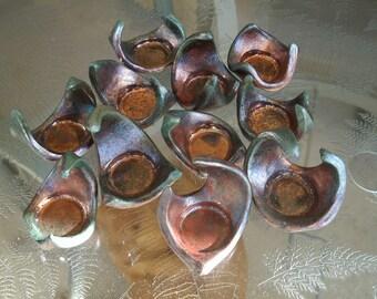 2 Copper Patina Raku Tea Candle Holder
