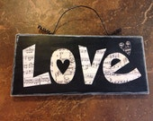 Love Notes Wall Decor with curly wire hanger