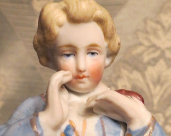 Vintage Blonde Boy In Blue Calling Out Figurine