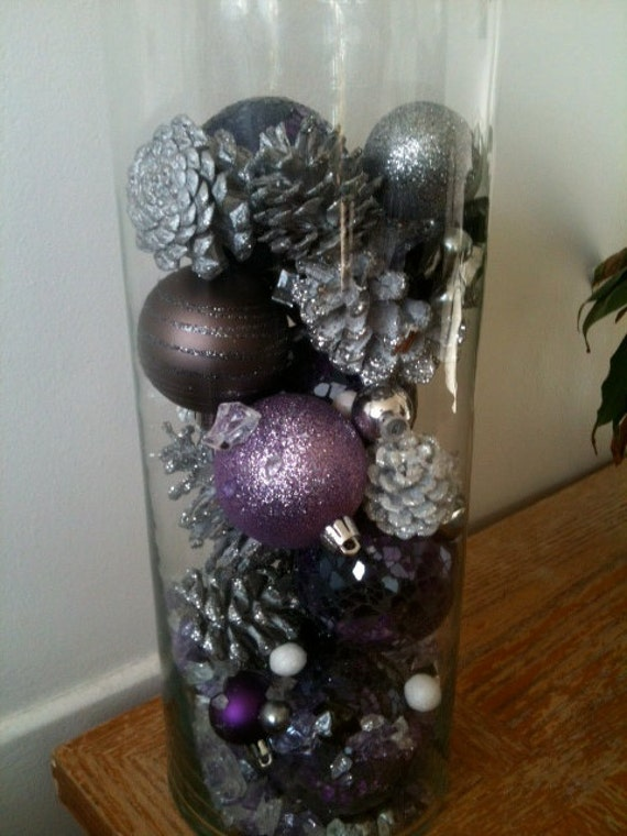 Items similar to purple winter centerpiece on etsy
