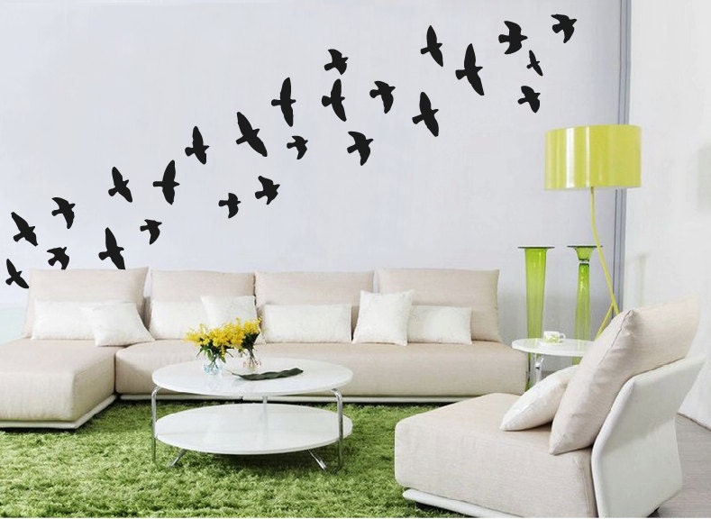 flock of flying birds wall stickers bird wall decal feather with flying birds wall sticker by sirface graphics