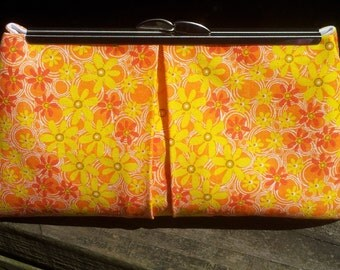60's Inspired Yellow, Orange and Pink Daisy Clutch Purse
