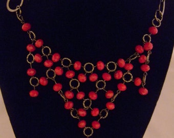 Ox Blood and Gunmetal Necklace and Earrings