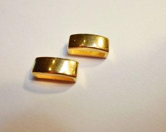 2 Gold 10mm Bar Sliders, Hypoallergenic, Flat Leather Bracelets  Gold findings,