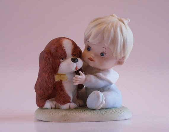 Vintage homco 1424 toddler baby boy with puppy dog figurine home