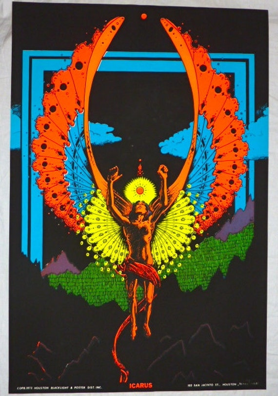 Vintage 1973 Houston BlackLight Poster Co ICARUS Psychedelic