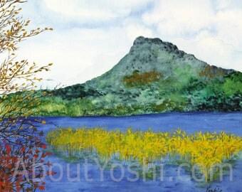 "Japanese Art -  ""Hokkaido Akan Lake"" 11 x 14 watercolor on cotton paper."