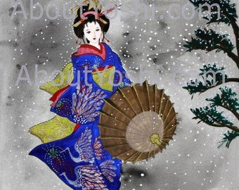 "Japanese Art -  Geisha ""Snow in the Evening""  11 x 14 watercolor on cotton paper."