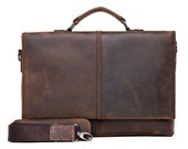 Handcrafted Leather Briefcase / Messenger / Laptop / Men's Bag in Dark Coffee