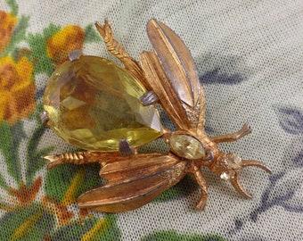 Vintage Yellow Bug Brooch