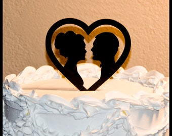 Wedding Cake Topper - Silhouettes in Heart wedding cake topper - silhouette cake topper - heart cake topper - silhouettes cake topper