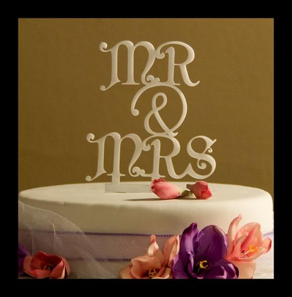 Wedding cake topper mr and mrs with ampersand design 1 mr for Ampersand decoration etsy