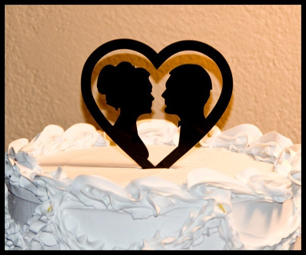 Wedding Cake Topper Silhouettes In Heart