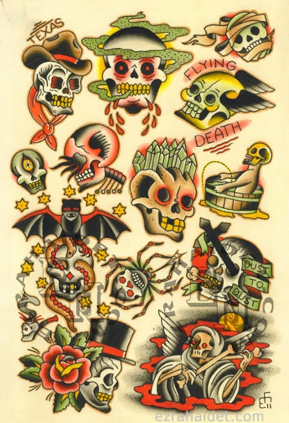 Items similar to Traditional Tattoo Flash Print 2011 ...