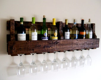 Reclaimed Wood Wine Rack Wine Bottle Wine Glass Pallet Wood Wine Rack Dark Walnut Brown or Natural (no color) Eco Friendly