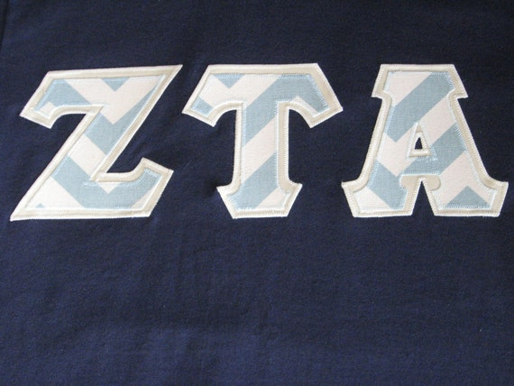 sorority letter shirt short sleeve appliqued letters zeta tau With zeta tau alpha letter shirts