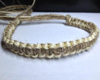 Basic, Dark & White Hemp Bracelet (Reversible)