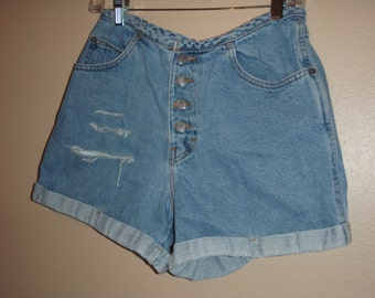upcycle shorts 90s by Gitano jeanswear ripped jean shorts high waisted size 10