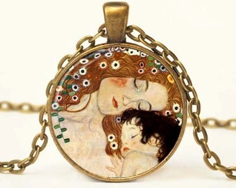 Klimpt Mother and Child Pendant Necklace,  Necklace,  Art Pendant, Resin Art Pendant