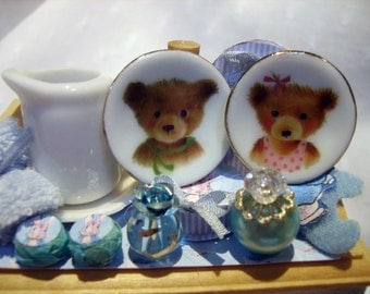 """Two adorable miniature plates for dollhouse 1:12 scale """"Bears"""""""