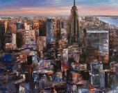 New York City Skyline Large Original Abstract Art Piece (48 x 36 inches)