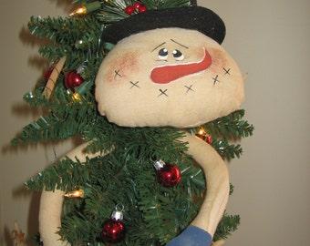 Primitive Raggedy Winter Holiday Snowman Tree Hugger Doll Pattern