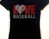 Love Baseball Rhinestone Tee Shirt Black