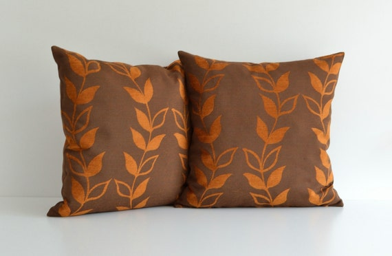 Throw Pillows For Brown Couch : 20x20 Orange And Brown Decorative Throw Pillow For Couch