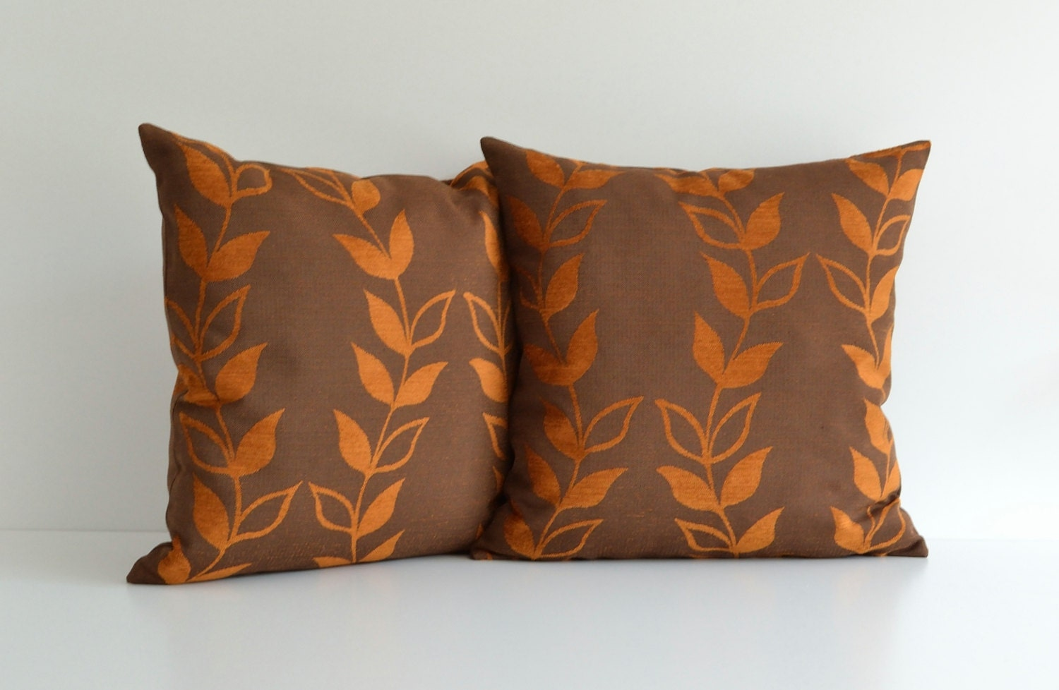 20x20 Orange And Brown Decorative Throw Pillow For Couch