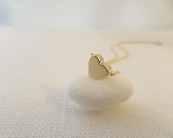 Gold heart necklace...dainty handmade necklace, everyday, simple, birthday,  wedding, bridesmaid jewelry
