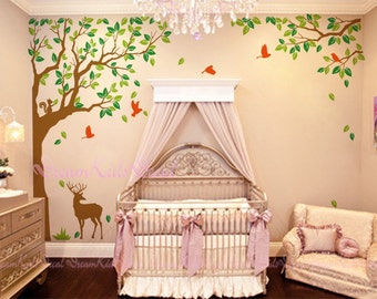 "Nature forest Decal with Deers Decal-Nursery wall decal baby wall decal children wall decal vinyl decal stickers 90"" -DK097"